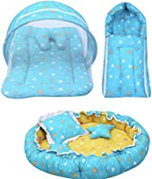 Infantbond Baby Sleeping Essential Reversible Nest   Mattress with Net   Carry Bag(0-6 Months) (Blue)