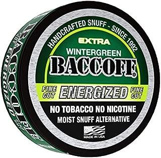 BaccOff, Wintergreen Energized Fine Cut, Premium Tobacco Free, Nicotine Free Snuff Alternative (10 Cans)