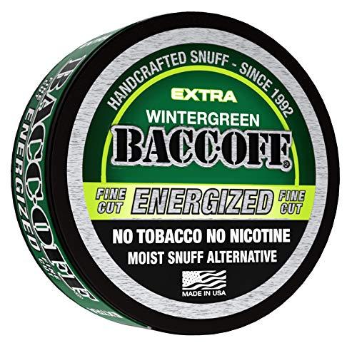 BaccOff, Wintergreen Energized Fine Cut, Premium Tobacco Free, Nicotine Free Snuff Alternative (5 Cans)
