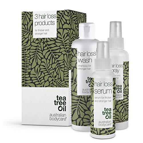 3er Set Haarausfall - 3 Produkte ideal für Frauen und Männer mit Haarausfall. Im Set: Haarausfall Serum 150ml, Haarausfall Shampoo 250ml und Haarausfall Spray 150ml von Australian Bodycare