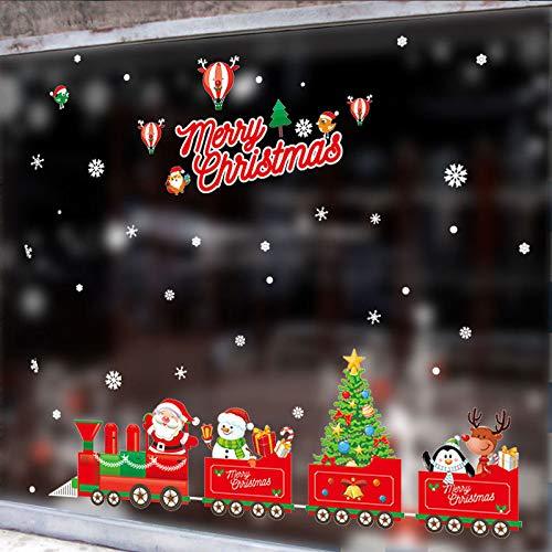 JXMN 1 Pieza de Feliz Navidad árbol de Navidad muñeco de Nieve Navidad año Nuevo Tienda Ventana Etiqueta de la Pared Blanco Rojo Adorno navideño Fiesta de Copo de Nieve 100x70cm