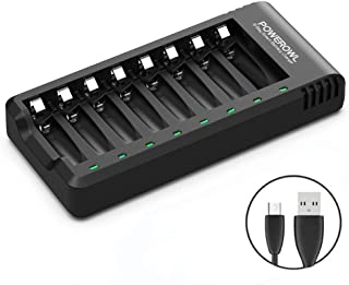POWEROWL 8 Bay AA AAA Battery Charger (USB High-Speed Charging, Independent Slot) for..