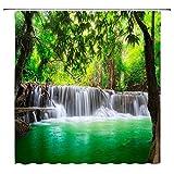 RFHK Natürliche Landschaft Duschvorhänge Wasserfall Grüne Wiese Blume Frühling Landschaft Badezimmer Dekor wasserdichte Stoff Vorhang Set