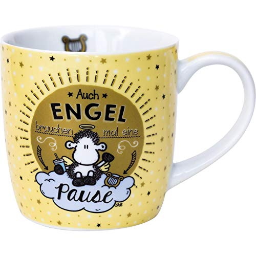 Sheepworld 45732 Tasse Engel brauchen mal ne Pause, Porzellan-Tasse, 40 cl, mit Geschenk-Banderole, Gelb
