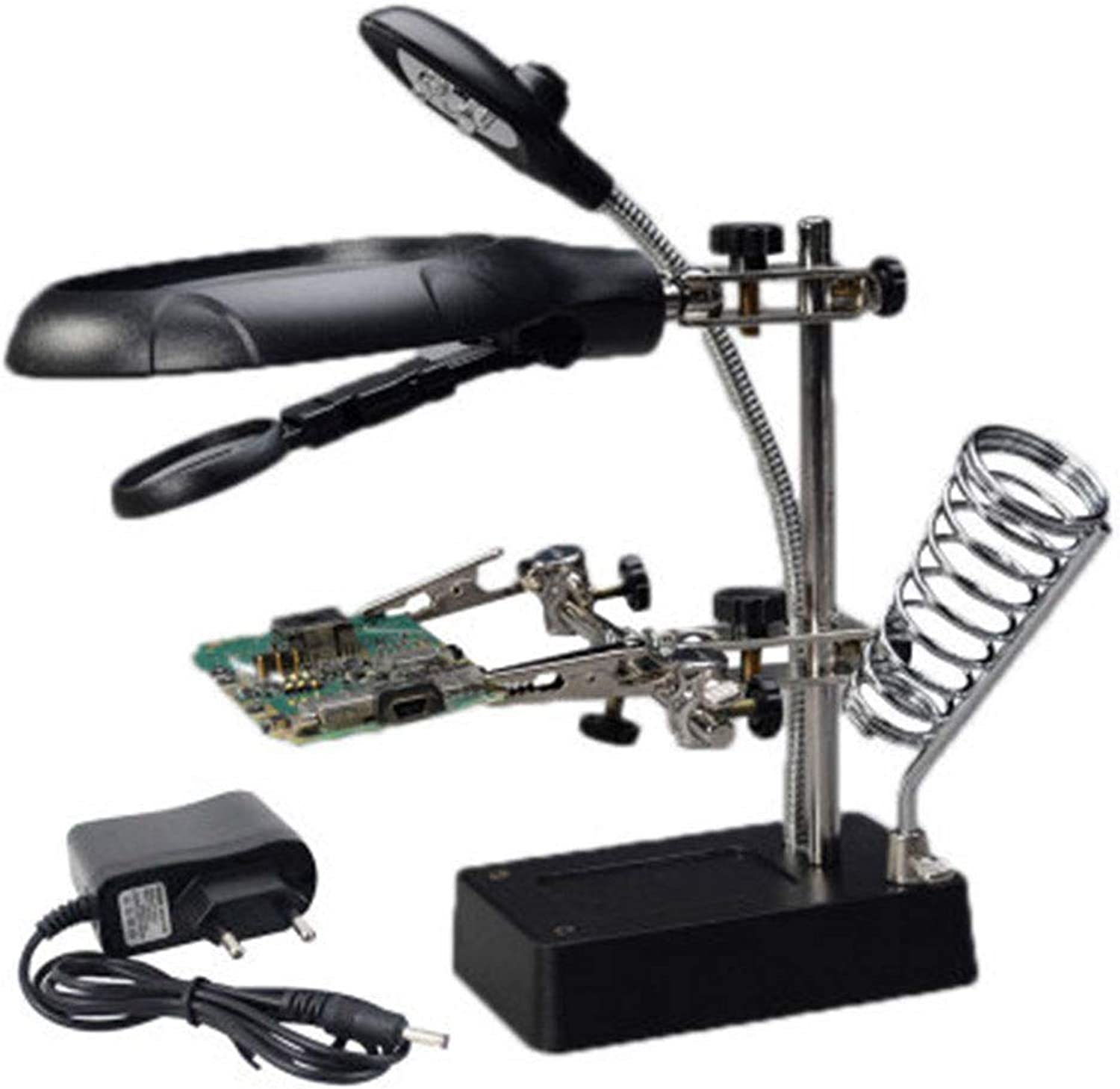 WQING LED Light Helping Hand Magnifier Illuminated Hands Free Magnifying Glass Stand with Clamp and Alligator Clips