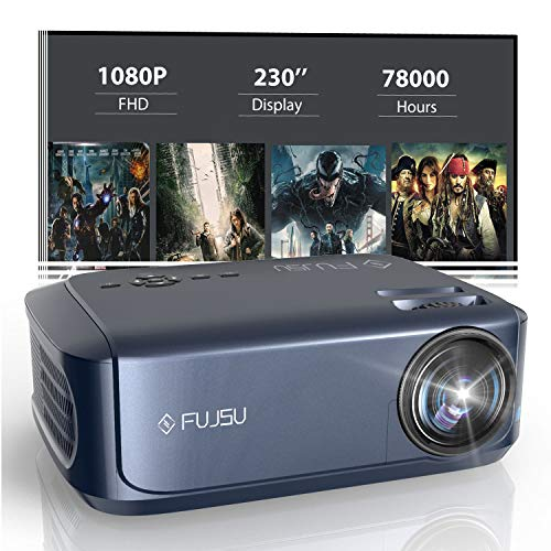 """Projector, Video Projector Outdoor Movie Projector with 1080P Full HD, Portable Home Theater Projector 230"""" Supported, Compatible with Laptop, Smartphone, HDMI, Fire TV Stick, PS4"""