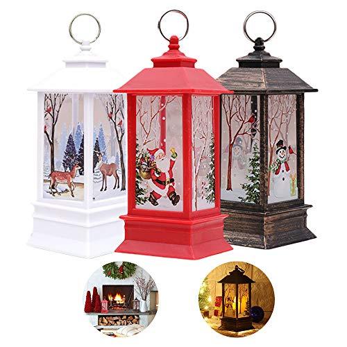 Christmas Outdoor Lights Sale, 3 PCS Christmas Decorations Lights Xmas Candle with LED Tea Light Elk Snowman Santa Claus light for Christmas Party Decor