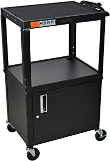 H WILSON W42ACE Adjustable Height Cabinet AV Cart, Black