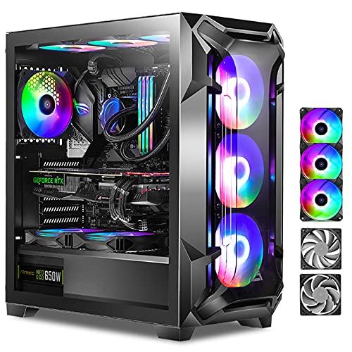 WSNBB Caja De Computadora para Juegos, Caja De PC, Torre Media ATX, Vidrio Templado 360 Lateral Refrigerado por Agua A Través De La Computadora De Escritorio, 5 Ventiladores Gratis