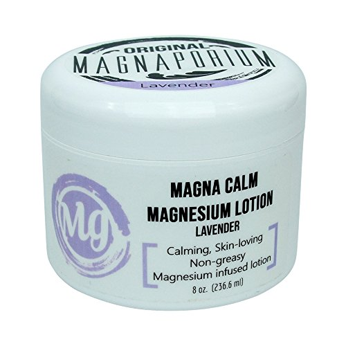 Magnesium Lotion Lavender 8 oz Magna Calm - Now with all Organic Oils Including Hemp! - Over 275 mg/tsp of Zechstein Seabed Magnesium Minerals (Lavender)