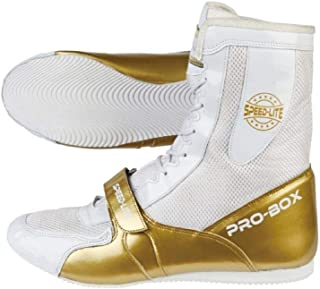 Pro Box Speed Lite Junior Boxing Boots Kids Sparring Trainers - White/Gold