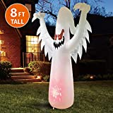 Joiedomi Halloween 8 FT Inflatable Ghost on Fire with Build-in LEDs Blow Up Inflatables for Halloween Party Indoor, Outdoor, Yard, Garden, Lawn Decorations