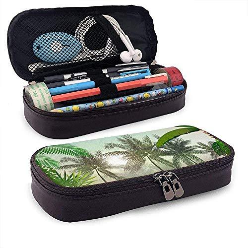 Tropische achtergrond met planten en bladeren Student lederen potlood Case grote capaciteit Pen Bag Houders briefpapier organizer zak