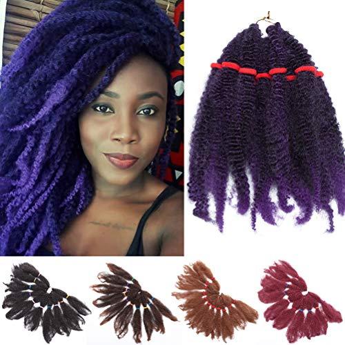 3 Packs 28cm Crochet cheveux Afro Kinky Curly Crochet Braids Extensions de cheveux Synthétique Jerry Curls Marley Braids Crochet cheveux pour les Femmes Mélange noir Violet