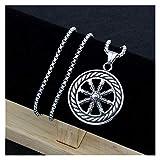 chenran Accesorios Encantos de la Vendimia Rueda de Dharma de la joyería Vida Samsara Budista del Amuleto Colgante Collar Talisman Religiosa for los Hombres Regalo (Metal Color : Silver)