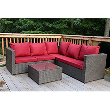 Oliver Smith - Large 4 Pc Modern Brown Rattan Wiker Sectional Sofa Set Outdoor Patio Furniture - Fully Assembled - Aluminum Frame with Ottoman - Dark Red
