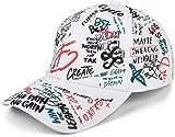 styleBREAKER 6-Panel Cap mit All Over Statement Sprüche Print, Grafiiti Look, Baseball Cap, Basecap, verstellbar, Unisex 04023063, Farbe:Weiß