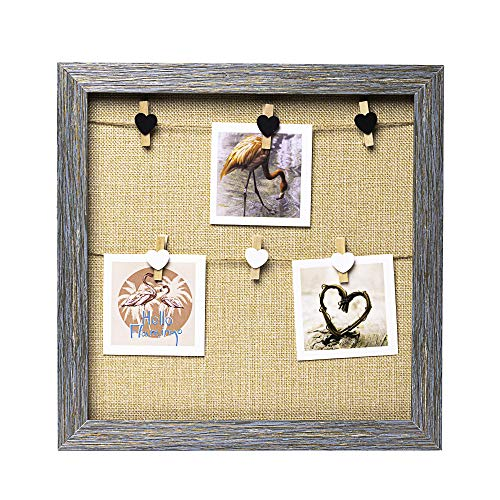 Byoeko Marco para Colgar Fotos sin Cristal con 6 Pinzas de Madera. 30 x 30 cm (Grisáceo Fondo Yute)