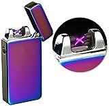 PEARL Elektro Feuerzeug USB: Elektronisches USB-Feuerzeug mit doppeltem Lichtbogen & Akku, violett...