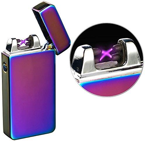 PEARL Elektro Feuerzeug USB: Elektronisches USB-Feuerzeug mit doppeltem Lichtbogen & Akku, violett (Elektrische Feuerzeuge USB)