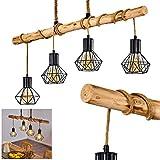 Lámpara colgante Bardhaman, de metal, madera, cuerda, color negro natural, 4 focos, 4 bombillas E27 máx. 60 W, lámpara colgante con vigas de madera, estilo retro, altura máx. 173 cm, apta para LED