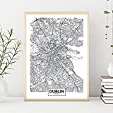 XLXZZ Dublin Stadtplan Leinwand Malerei Schwarz weiß