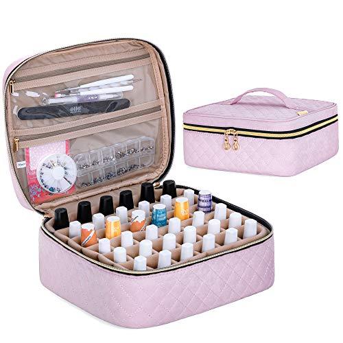 Yarwo Nagellack Aufbewahrungstasche für 36 Flaschen Nagellack (bis zu 15ml), Kosmetiktasche für Nagellack Organizer, Nagellack Tasche zum Transport und zur Aufbewahrung, Pink