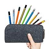 Navani Estuche para lápices, estuche de fieltro gris para pluma estilográfica, bolsa para lápices, organizador de escritorio con cremallera (paquete de 2)