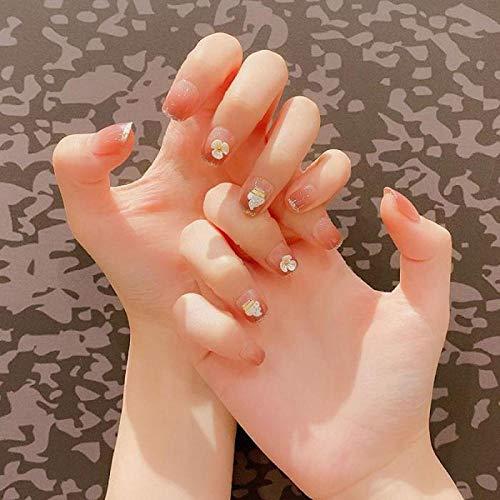 TJJL Faux ongles 24 pcs/boîte en forme de fleur tête carrée appuyez sur les conseils des ongles femmes détachable portable couverture complète acrylique faux doigt ongle avec de la colle