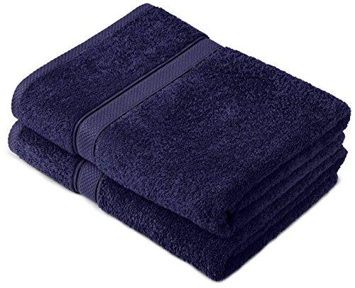 Pinzon by Amazon Handtuchset aus Baumwolle, Marineblau, 2 Badetücher, 600g/m²