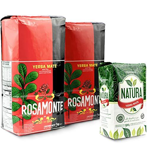 Yerba - Juego de té mate de rosamonte tradicional 2 kg (2 x 1 kg) + Natura Tradicional 0,5 kg | té mate de Argentina | té mate de hojas de mate, trozos de matemática y hojas finamente molidas