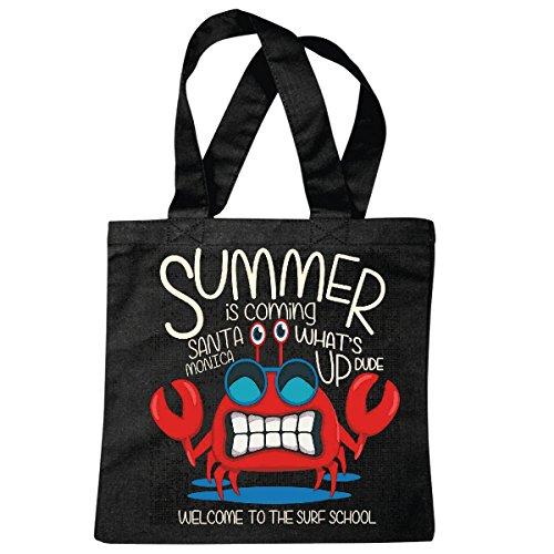 Tasche Umhängetasche Summer is Coming Sander Monica SUEF School SURFEN Beach Surfbrett Longboard Wellenreiten Wellen ANFÄNGER Shop Einkaufstasche Schulbeutel Turnbeutel in Schwarz