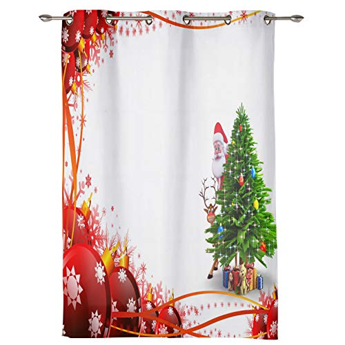"Draperies & Curtains Panels for Living Room Christmas Tree Red Green Gifts Santa Claus Durable Window Curtains for Solding Glass Door Bedroom Kitchen Home Decor Shading Drape-1 Panel, 52"" W by 63"" L"