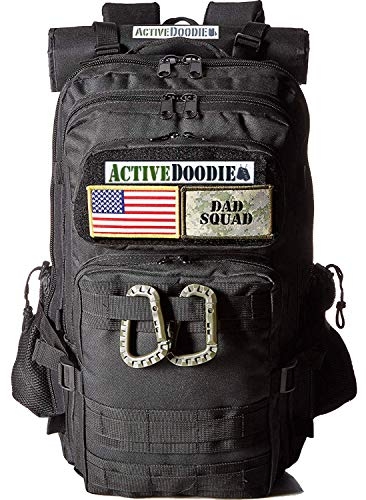 ActiveDoodie Dad Diaper Bag Backpack, Tactical Adventure Gear for Dads, Changing Pad, Stroller Straps, Insulated Bottle Holder, Diaper Bag for Dads, Daddy Diaper Bag (Dad Squad Velcro Patches, Large)
