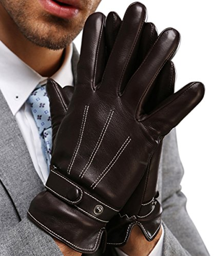 Full-Hand Touchscreen Genuine Leather Gloves, Gift Packaging, Men's Texting Driving Winter Cold Weather Gloves (S-8.1'(US Standard Size), BLACK)