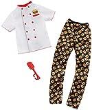 Barbie Mattel GHX44 Ken Mode - Juego completo de moda profesional para hamburguesas, cocinero, incluye pantalón con estampado de hamburguesas