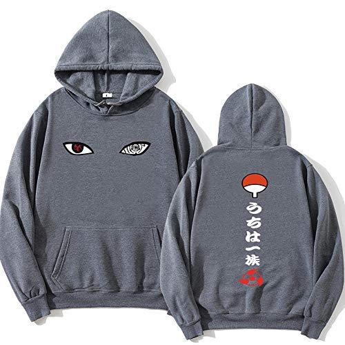 KMNL-Naruto Anime 3D Impresa Sudadera Capucha, Itachi Uchiha Sasuke Kakashi Sharingan Casual Sweatshirts, Color sólido, Sencillez, Mangas Largas, Unisexo-Gris Oscuro_3XL