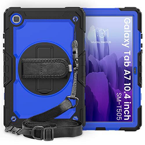 XunyLyee Kids Case for Samsung Galaxy Tab A7 10.4 (2020), Heavy Duty Shockproof Hybrid Protective Stand Case & Handle and Shoulder Strap for Samsung Galaxy Tab A7 SM-T500/SM-T505, Black+Dark Blue