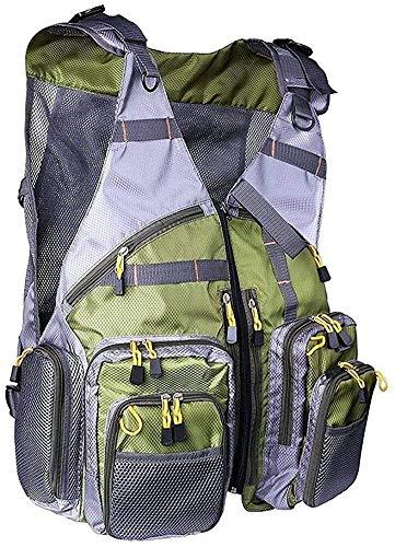 LQ Exterior Multi Bolsillos del Chaleco Pesca con Mosca, Pesca de Malla Transpirable Chaleco Chaleco Ajustable Camping (Color : Green, Size : One Size)