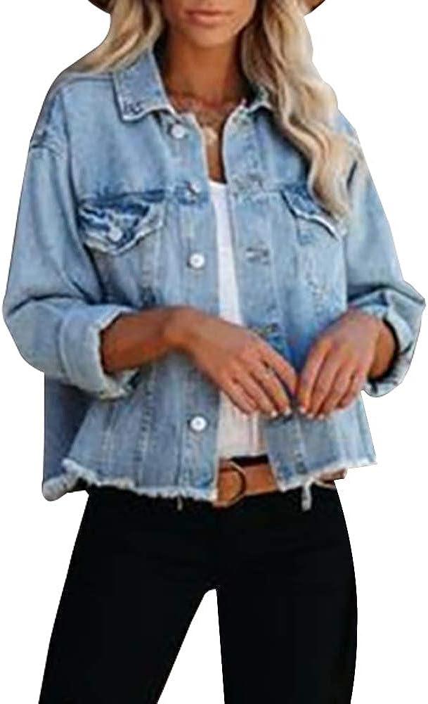LONGBIDA Women's Jean Jacket Frayed Washed Button Up Cropped Denim Jacket With Pockets