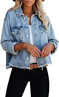 Women's Jean Jacket Frayed Washed Button Up Cropped Denim...