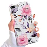iPhone 8 Plus / 7 Plus Case for Girls, YeLoveHaw Flexible Soft Slim Fit Full Protective Cute Shell Phone Case with Floral and Leaves Pattern for iPhone 7Plus / 8Plus 5.5 Inch (Purple Flowers)