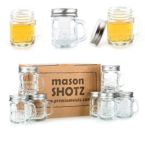 Premium Vials - Mini Mason Jar Shot Glasses with Handles (Set of 8) – Leak-Proof Lids - Great For Shots, Drinks, Favors, Candles And Crafts