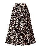 Mujer Falda Midi De Punto Elástica Plisada Básica Falda Leopardo Falda De Delgado Leopardo L