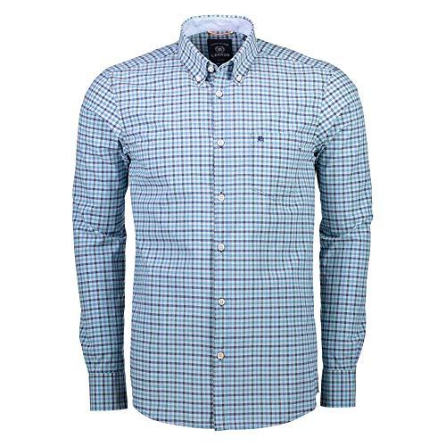 LERROS Men 28D1140 Herren Hemd mit Button-Down-Kragen lässige Passform Baumwolle, Groesse 50/52, türkis/kariert