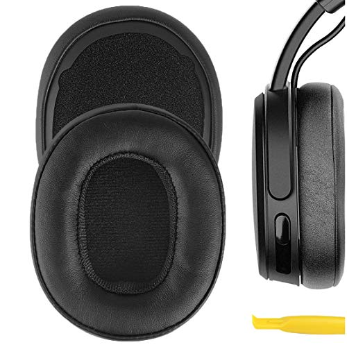 Geekria QuickFit Protein Leather Ear Pads for Skull.Candy Crusher Wireless Crusher Evo Crusher ANC Hesh 3 Headphones, Replacement Ear Cushion/Ear Cups/Ear Cover, Earpads Repair Parts (Black)