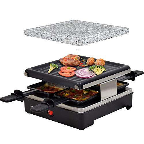 Syntrox Germany Chef-Grill_RAC-600W_Brienz Raclette antiadherente y placa natural (piedra caliente) para 4 personas, Diseño de acero inoxidable