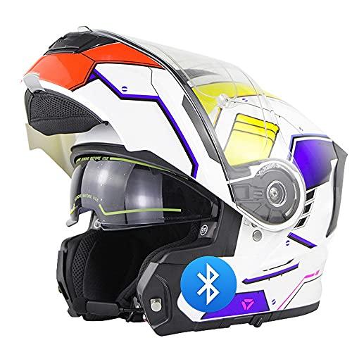 RMBDD Casco Modulare Bluetooth Flip Full Face Casco Moto Integrato con Doppio Parasole per Uomo E Donna Approvato DOT/ECE Caschi Integrali Apribili E Modulari (55~66CM)