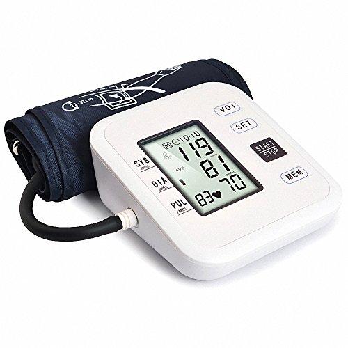 BDFA Oberarm-Stil Elektronische Blutdruckmessgerät Live-Voice mit LCD-Display Systolischen Diastolischen Puls,White