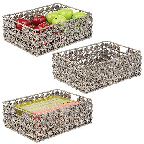 mDesign Set of 3 Storage Baskets — Wicker Storage Boxes for The Kitchen — Small Wicker Baskets for Storing Snacks, Cereals, Baking Supplies — Grey Wash
